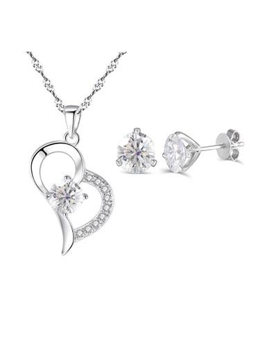 Enesstore 925 Ayar Gümüş Zirkon Taşlı Kalp Bayan Kolye Küpe Seti Beyaz
